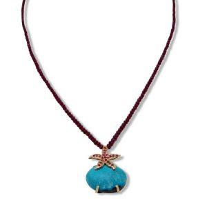 Cristiana Mariani Gioielli - Collana filo di rubini naturali ct.0,30 con centrale in turchese e rubini naturali